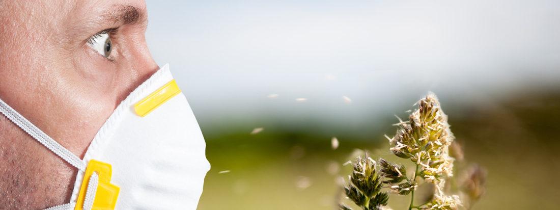 Маска на лице от аллергии на цветок