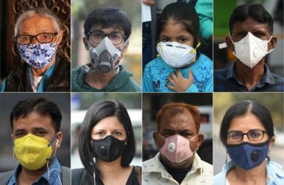 Респираторные маски на людях